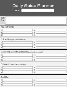 Daily Sales Planner Template
