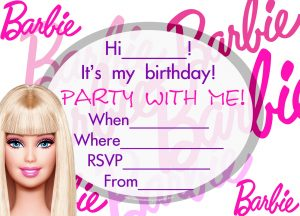 Barbie Pool Party Invitations