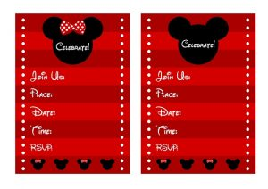 Red and Black Minnie Mouse Birthday Invitations