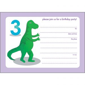 Dinosaur 3rd Birthday Invitations