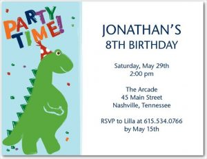 Dinosaur Birthday Invitation Card Template