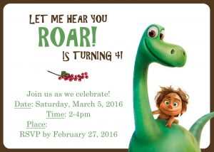 The Good Dinosaur Birthday Invitations