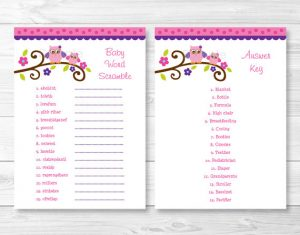 Baby Shower Word Scramble with Answer Key