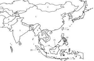 Blank Continent Political Map of Asia