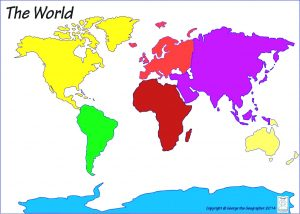 Blank Continents and Oceans Map