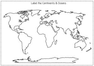 Blank Map of Continents and Oceans