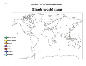 Blank World Continent Map