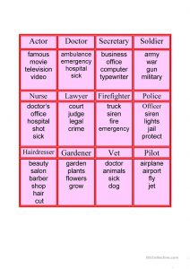 Taboo Game Cards Jobs Professions