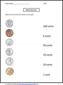Coin Values Worksheet Free
