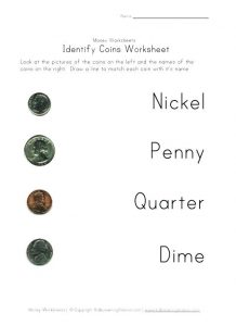 Identifying Coins Worksheets