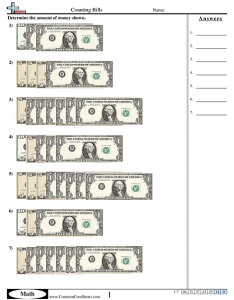 Learning the Value of Money Worksheets