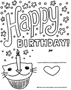 Happy Birthday Card Printable Coloring Pages