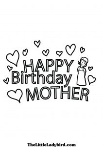 Happy Birthday Mom Cards to Color
