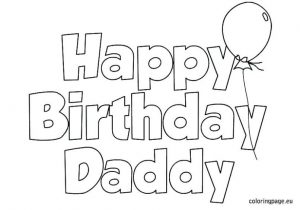 Printable Coloring Birthday Cards for Dad Free