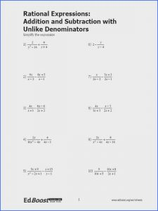 Addition and Subtraction Rational Expressions Worksheet