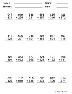 Free 3 Digit Addition And Subtraction Worksheets with Regrouping