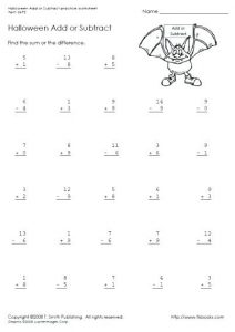 Halloween Addition and Subtraction Worksheets without Regrouping