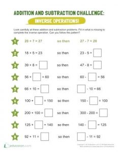 Inverse Operations Addition and Subtraction Worksheets Ks2