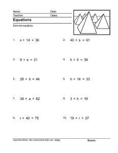 Solving Two Step Equations Addition and Subtraction Worksheet