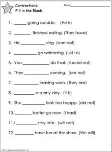 Contraction Worksheets for 2nd Grade Free