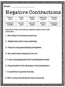 Contractions and Negatives Worksheets