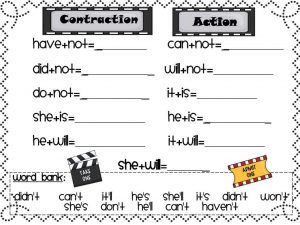 Contractions with Not Worksheets Printable