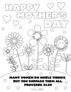 Religious Mothers Day Cards to Color