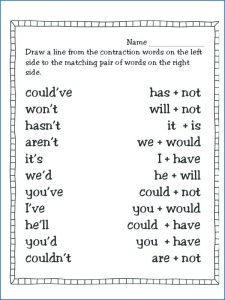 Simple Printable Matching Contractions Worksheet