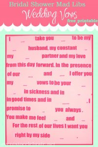 Bridal Shower Vows Mad Libs Template