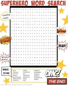 Superhero Word Search for Kids