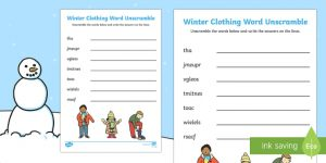Winter Word Scramble with Answers