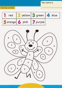 Color by Number Butterfly Coloring Sheet