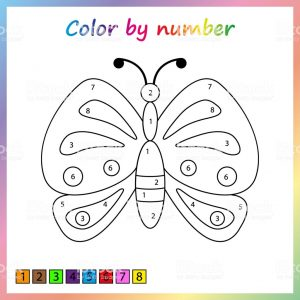 Color by Number Butterfly Worksheets
