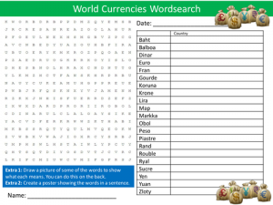 Currencies Word Search Game