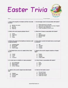 Easter Trivia Questions and Answers Multiple Choice