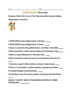 Easter Trivia Questions and Answers for Seniors