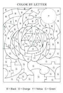 Fall Halloween Color by Letter Worksheets
