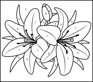 Free Color By Number Flowers