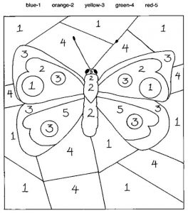 Free Printable Color by Number Butterfly
