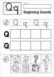 Letter Q Cut and Paste Worksheets