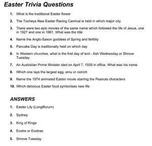 Non Religious Easy Easter Trivia Printable Quiz Questions and Answers