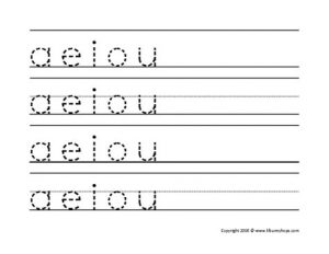Tracing and Write Vowel Letters Worksheet for Nursery