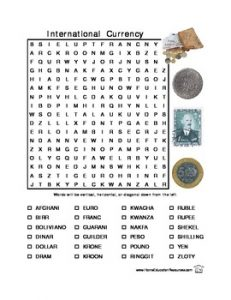 World Currencies Word Search Answers