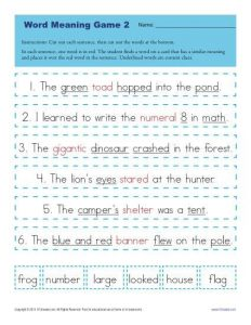 Analyzing Words with Context Clues Worksheet