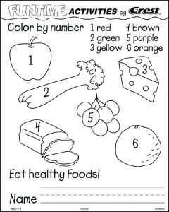 Color by Number Healthy Food