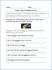 Context Clues Worksheets High School Free