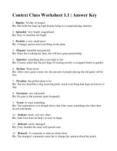 Context Clues Worksheets with Answers