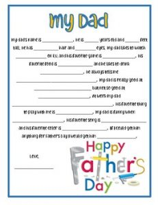 Father's Day Questionnaire for Kindergarten Toddlers