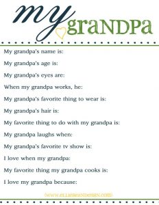 Grandfather Questionnaire for Father's Day