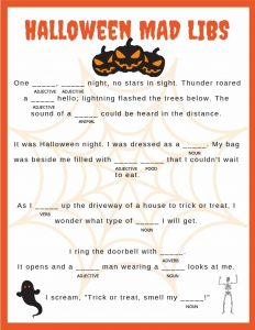 Halloween Mad Libs for 5th Graders